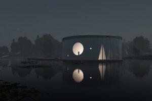 Conceptbeeld kunstmuseum Almere exterieur 's nachts