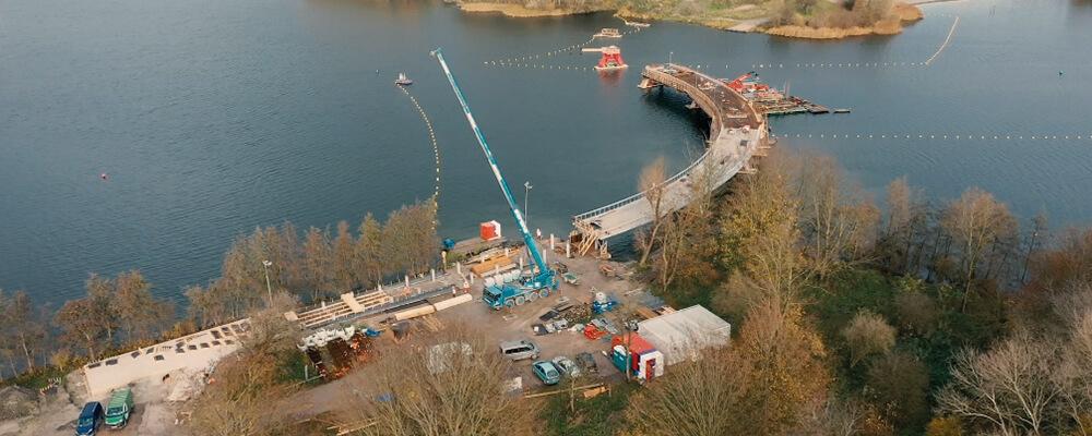 Bovenaanzicht bouw Weerwaterbrug