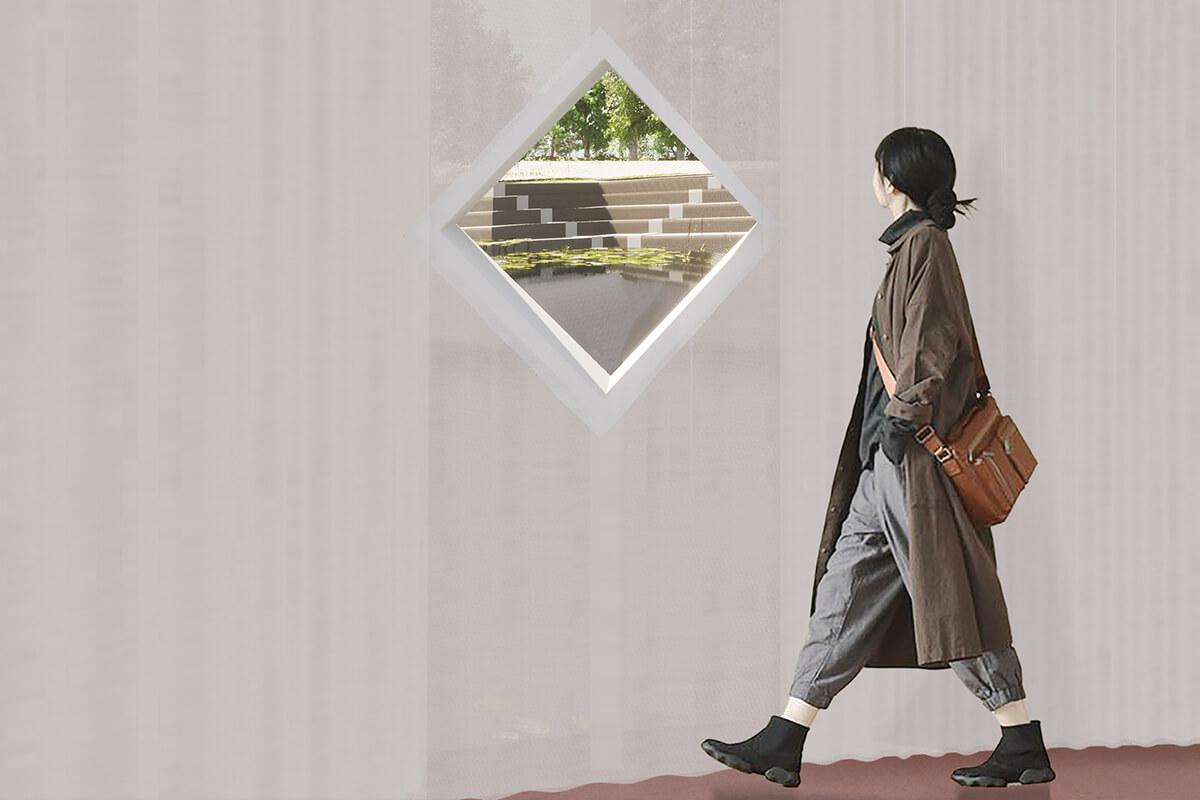Vrouw kijkt uit raam kunstpaviljoen