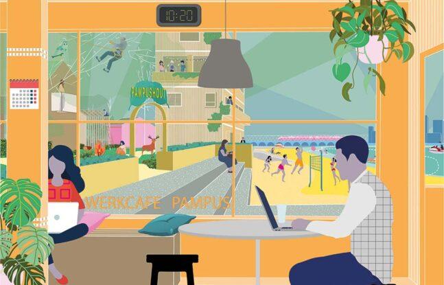 Illustratie werkcafé Pampus